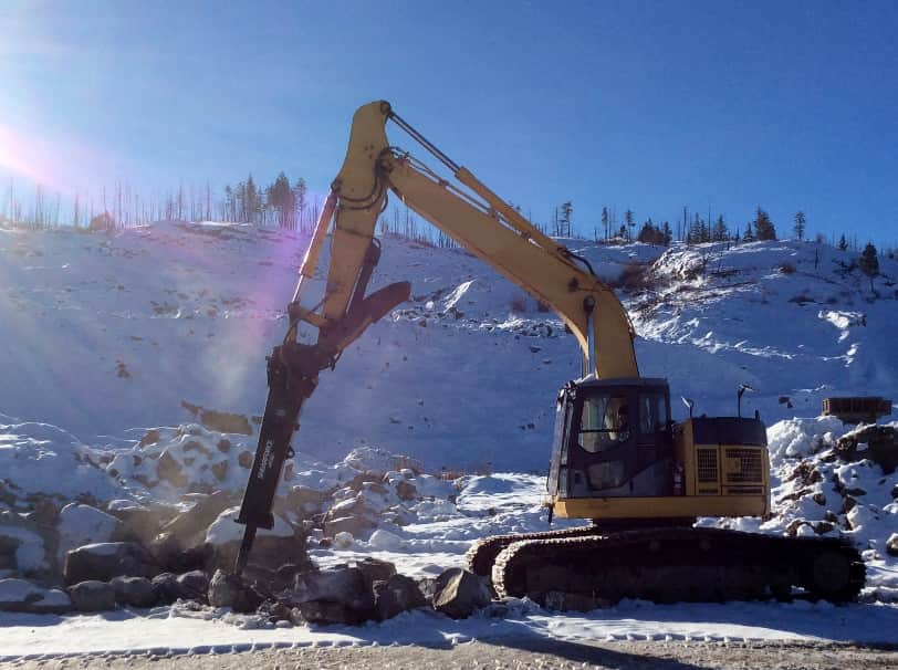 ShearForce Hammer excavator attachment working on frozen ground