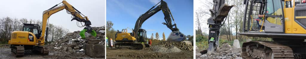 rental excavators with attachments