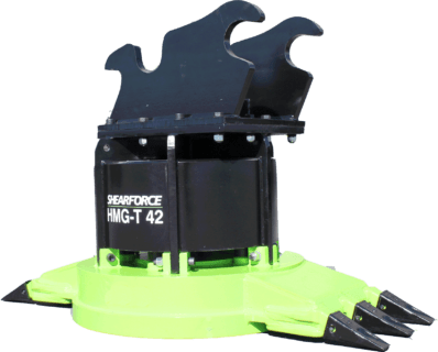 ShearForce HMG-T 42 Scrap Magnet with teeth excavator attachment