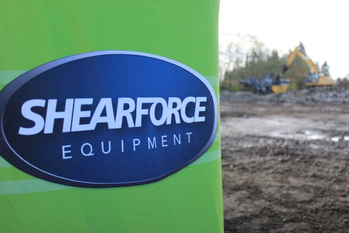 ShearForce Equipment sign at a construction site