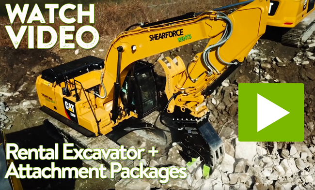 shearforce demolition rental excavator attachment packages
