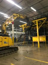 excavator shear demolition racking indoor